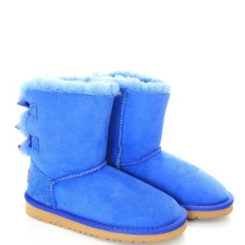 Угги детские зимние (S373) синий / замша
