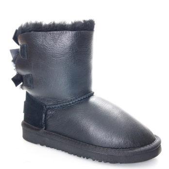 Угги детские (S362) черный / кожа + замша